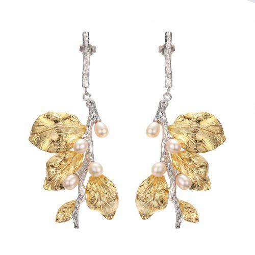 A.Brask - Örhängen med vita blommor - Örhänge