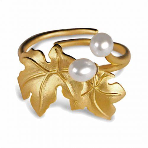 A.Brask - Blommande lönn justerbar ring - guldpläterad ring