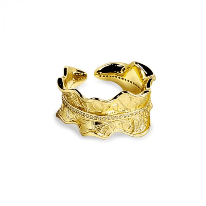 A.Brask - Bondpionblad justerbar ring med sten - Ring