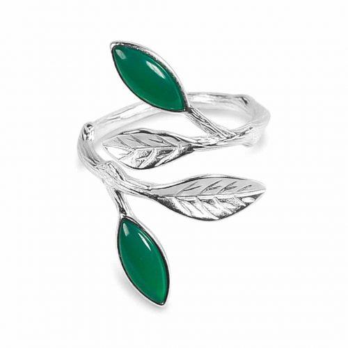 A.Brask - Blommande fjäderjusterbar ring - silver - grön - smaragd